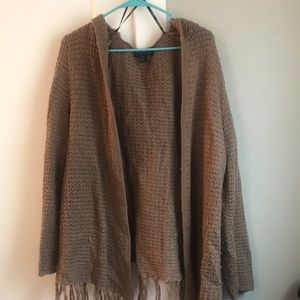 Brown open sweater